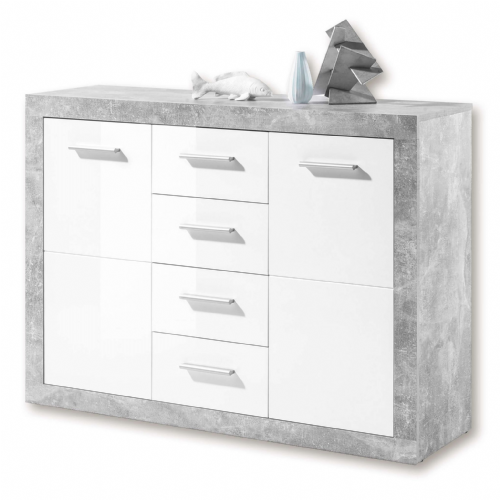 Pietra 117cm Sideboard Grey and White Gloss 2 door 4 drw - 2698